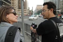 Daniela Sallet e Juan Zapata nas gravações em São Paulo